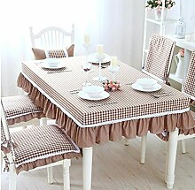 BUUYI Tischdecke Tischtuch Pflegeleicht Minimalistischer Stil Braun Gitter 90 x 90 cm Hochzeit Hotel Restauran