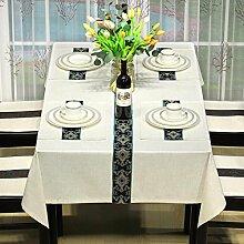 BUUYI Tischdecke Tischtuch Pflegeleicht Modern einfach weiß 130 X 210 cm Hochzeit Hotel Restauran