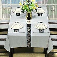 BUUYI Tischdecke Tischtuch Pflegeleicht Moderne minimalistische grau 130 X 130 cm Hochzeit Hotel Restauran