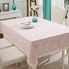 BUUYI Tischdecke Tischtuch Pflegeleicht Moderne minimalistische Pulver 140 X 140 cm Hochzeit Hotel Restauran