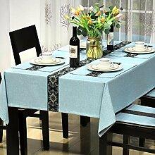 BUUYI Tischdecke Tischtuch Pflegeleicht Moderne minimalistische Blau 130 X 130 cm Hochzeit Hotel Restauran