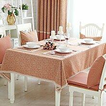 BUUYI Tischdecke Tischtuch Pflegeleicht Reine Baumwolle rot 110X110 cm