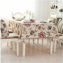 BUUYI Tischdecke Tischtuch Pflegeleicht Reine Baumwolle Stempel 140X220 cm