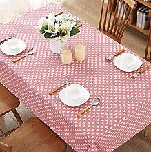 BUUYI Tischdecke Tischtuch Pflegeleicht Rosa 140X220 cm