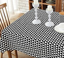 BUUYI Tischdecke Tischtuch Pflegeleicht Schwarz 140X220 cm