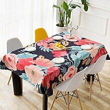 BUUYI Tischdecke Tischtuch Pflegeleicht Schwarz 140x230cm Hochzeit Hotel Restaurant Modern einfach