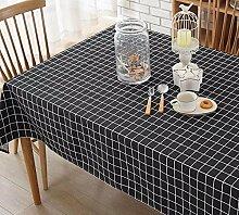 BUUYI Tischdecke Tischtuch Pflegeleicht Schwarz Gitter 110X170 cm