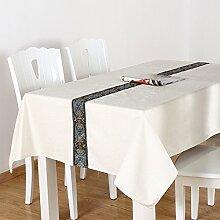 BUUYI Tischdecke Tischtuch Pflegeleicht Weiß 90x140cm Hochzeit Hotel Restaurant Modern einfach