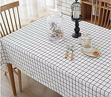 BUUYI Tischdecke Tischtuch Pflegeleicht Weiß Gitter 100X140 cm