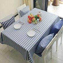 BUUYI Tischdecke Tischtuch Pflegeleicht Wohnzimmer Blau Streifen 130x180cm Hochzeit Hotel Restaurant Modern einfach