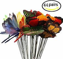 BUWANT 44 Pack Gartendeko-Schmetterlinge / Libellen auf Stäben als Deko für Garten oder Blumentopf