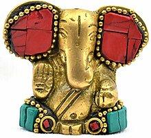 Buycrafty Statue Ganesha, sitzend, Messing,