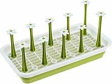 BUYDirect Flasche Gericht Cup Ablauf Chemische Organizer Wasser Tasse Flasche Ständer Tablett Halterung Blume Rechteck Form Grün Flower