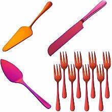 Buyer star Tortenheber und Messer-Set, orange-rot,