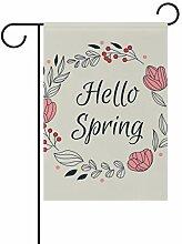 Buyxbn Garten-Flagge, Hello Frühlingskranz,