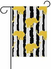 Buyxbn Gartenflagge mit Elefanten-Streifen,
