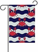 Buyxbn Gartenflagge mit Krabben, gestreift,