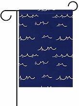 Buyxbn Gartenflagge mit nautischem Wellenmuster,