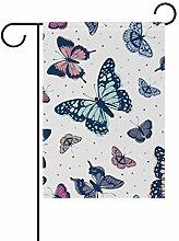 Buyxbn Gartenflagge mit Schmetterlingen,