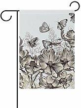 Buyxbn Gartenflagge mit Schmetterlingsblumen,