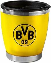 BVB Coffee To Go-Becher mit Logo Klein, Edelstahl, Schwarz / Gelb, 8 x 8 x 10 cm