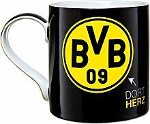 BVB Tasse mit Emblem, Steingut, Schwarz  /  gelb, cm, 10 x 10 x 15 cm, 1 Einheiten