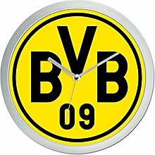 BVB Wanduhr, Plastik, Schwarz/Gelb, 25 x 25 x 5 cm