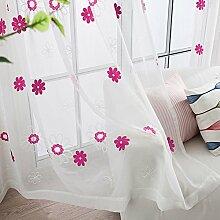 bw0057Landhaus Stil Blumen Bestickter Voile
