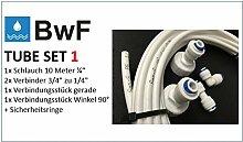 """BWF ORIGINAL Tube Set Nr. 1 Wasserzulaufleitung Universal Anschluss-Set für Kühlschrank Side by Side. 10m Wasserschlauch (1/4"""")"""