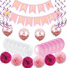 Bwiv Geburtstagsdeko Mädchen Rosa Happy Birthday