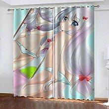 Bxnthd 3D Vorhänge Gardinen Cartoon Mädchen Mit