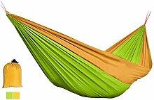 BXT Hängematte aus Fallschirmseide für zwei Personen bis 150kg (260*140 cm, Gelb+Grün)