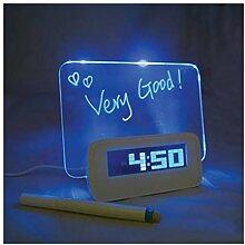 BXT Kreativ löschbar Memoboard LED Digital Wecker