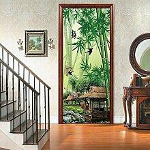 BXZGDJY 3D Tür-Wand-Aufkleber Garten Bambus