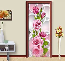 BXZGDJY 3D Tür-Wand-Aufkleber Rosa Kranz 90X200Cm