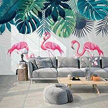 BYSQX Fototapete 3D Effekt Flamingo Bananenblatt