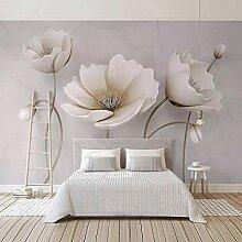 BYSQX Fototapete 3D Effekt Weiß Einfach Pflanze