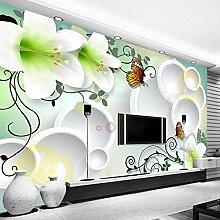 BYSQX Fototapete 3D Effekt Weiß Pflanze Lilie