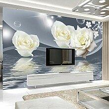 BYSQX Fototapete 3D Effekt Weiß Pflanze Rose