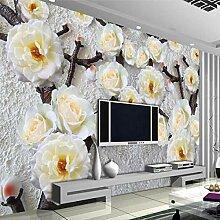 BYSQX Fototapete 3D Effekt Weiß Relief Pflanze