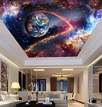 BZDHWWH Universum Weltraum 3D Decke Tapete