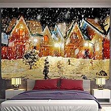 BZFJSFSFJN Weihnachten Kamin und Schnee Wandbehang