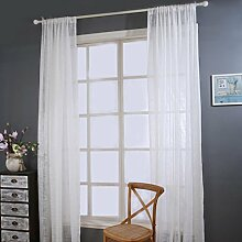 BZLine® 1PC Elegante Tür Fenster Vorhang Tuch Panel reine natürliche Leinen Streifenmuster vorhänge, 140cmx240cm (Weiß)