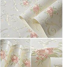 BZXJJ Tapete Geprägte Blumen Vliestapeten Für