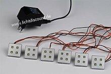 C-Light LED Möbel Leuchten Strahler Set 12 V / 38 x 38 mm / 3 W - WARMWEISS