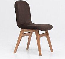 C&S CS Einfachen Stil Rückenlehne Stuhl Haushalts Schreibtisch Hocker Massivholz Hocker Fuß Hohe Rebound Schwamm Kissen Durable (Color : Brown)