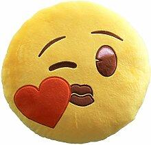 Cabero Emoji Smile Herz Kissen Samt Deko,