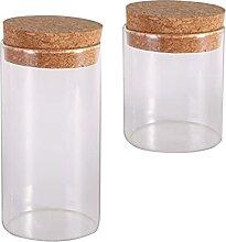 Cabilock 2Pcs Glas Kanister mit Kork Deckel