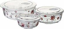 Cabilock 3Pcs Glas Salat Schüssel mit Deckel Glas