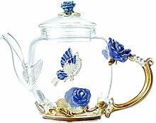 Cabilock Elegante Glas Teekanne Bunte Blumenmuster